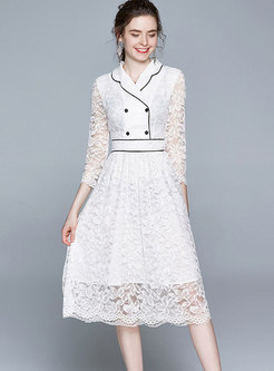 Lace Wide Lapel High Waisted Skater Dress
