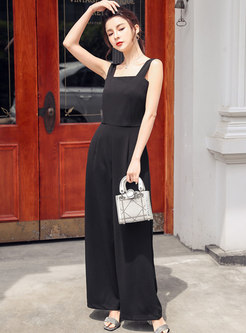 Square Neck Backless Slim Jumpsuits
