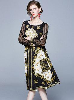 Retro Print Lace Patchwork Skater Dress