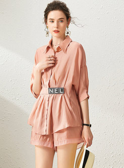 Lapel Gathered Waist Letter Blouse & Shorts