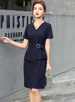 Elegant V-neck Patchwork Belted Bodycon Dress