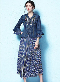 Retro Denim Embroidered Top & Dot Pleated Skirt