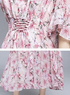 Boho Ruffle Sleeve Print Maxi Beach Dress