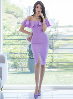 Off-the-shoulder Ruffle Slit Sheath Dress
