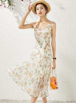 Print V-neck Tied Ruffle Slip Dress