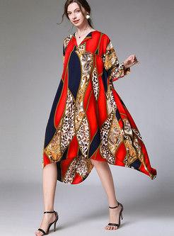Print Lapel Asymmetric Plus Size Shift Dress
