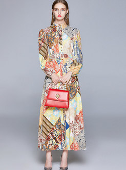Stand Collar Lantern Sleeve Print Maxi Dress