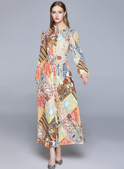 Stand Collar Lantern Sleeve Print Maxi Dress