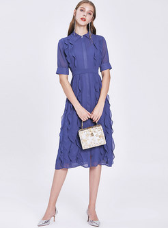 Chiffon Gathered Waist Ruffle Skater Dress