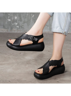 Casual Cross Strap Platform Leather Sandals