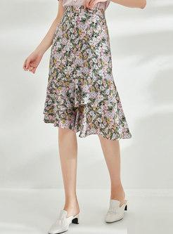 Floral High Waisted Asymmetric Peplum Skirt