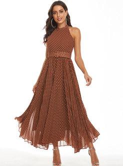 Polka Dot Crew Neck Sleeveless Belted Maxi Dress