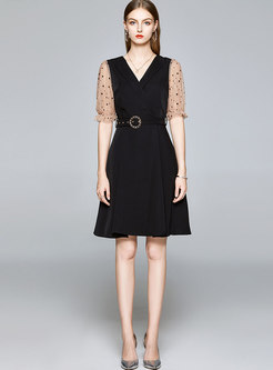Mesh Polka Dot Patchwork V-neck Belted Skater Dress