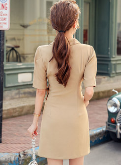 Khaki Gathered Waist Sheath Blazer Dress