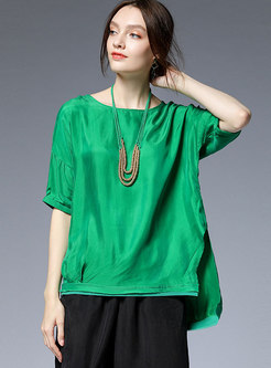 Plus Size Slit Asymmetric T-shirt