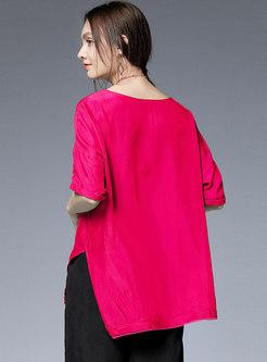 Plus Size Slit Asymmetric T-shirt