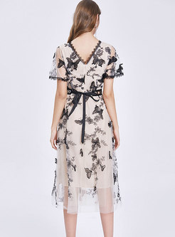 Flare Sleeve Embroidered Slim Maxi Dress