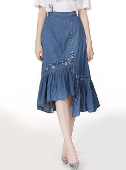 Denim Embroidered Asymmetric Ruffel Skirt