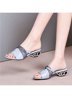 Color Block Patchwork Studded Heel Slippers