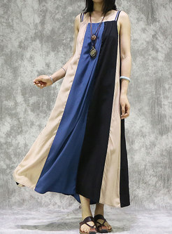 Color Block Loose Slip Maxi Dress