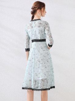 Floral Lace Patchwork Slim Bridesmaid Dress