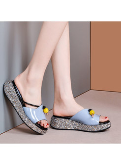Casual Glitter Platform Genuine Leather Slippers