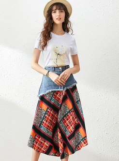 Print T-shirt & Denim Patchwork Belted Skirt