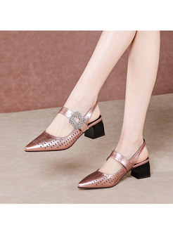 Pointed Toe Openwork Block Heel Sandals