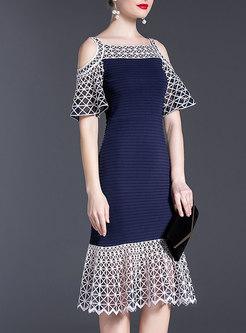Open Shoulder Embroidered Sheath Peplum Dress