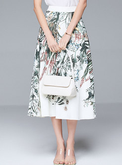 White Print High Waisted A-line Skirt