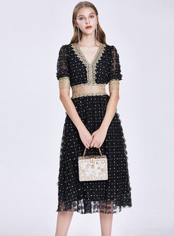 Lace Embroidered Gathered Waist Skater Dress