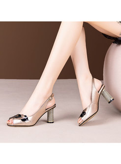 Peep Toe Block Heel Leather Sandals