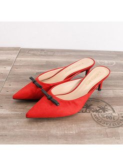 Pointed Toe Bowknot Thin Heel Slippers