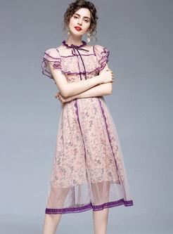Floral Mesh Patchwork Ruffle Skater Dress