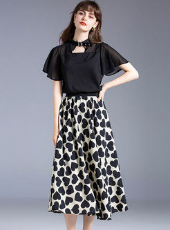 Stand Collar Chiffon Top & Print A-line Skirt