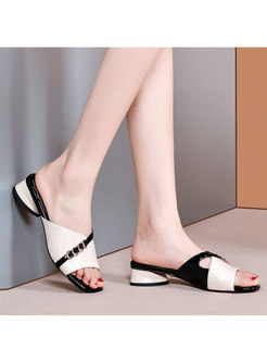 Color Block Chunky Heel Slippers