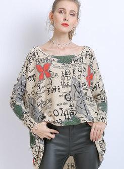 Slash Neck Print Bat Sleeve Loose Sweater