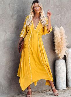 Bohemia Embroidered V-neck Asymmetric Maxi Dress