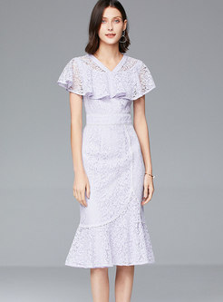 Lace V-neck Falbala Peplum Dress