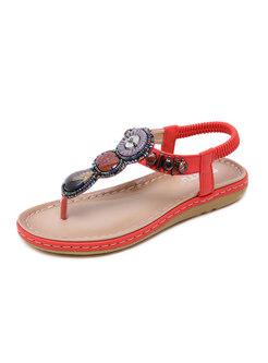 Retro Rhinestone Thong Flat Sandals
