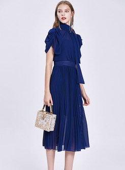 Stand Collar Puff Sleeve Pleated Midi Dress