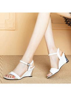 Color Block Wedge Heel Open Toe Sandals
