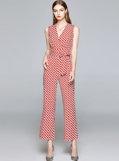 Print V-neck Slim Sleeveless Jumpsuits