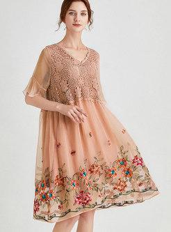 Chiffon Embroidered Patchwork Shift Dress