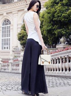 Patchwork Sleeveless Slim Top & Palazzo Pants