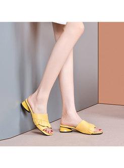 Open Toe Chunky Heel Outdoor Slippers