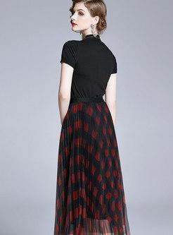Stand Collar Knit Top & Plaid Mesh Skirt