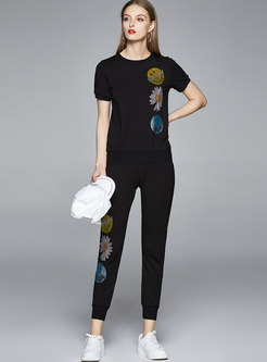Casual Cartoon Pattern Harem Pant Suits