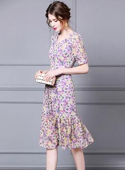 Floral V-neck Drawcord Peplum Dress