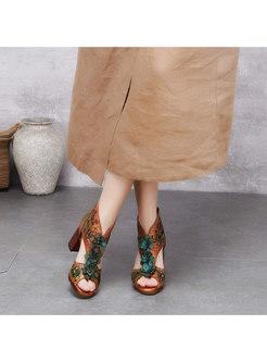 Peep Toe Chunky Heel Flower Sandals